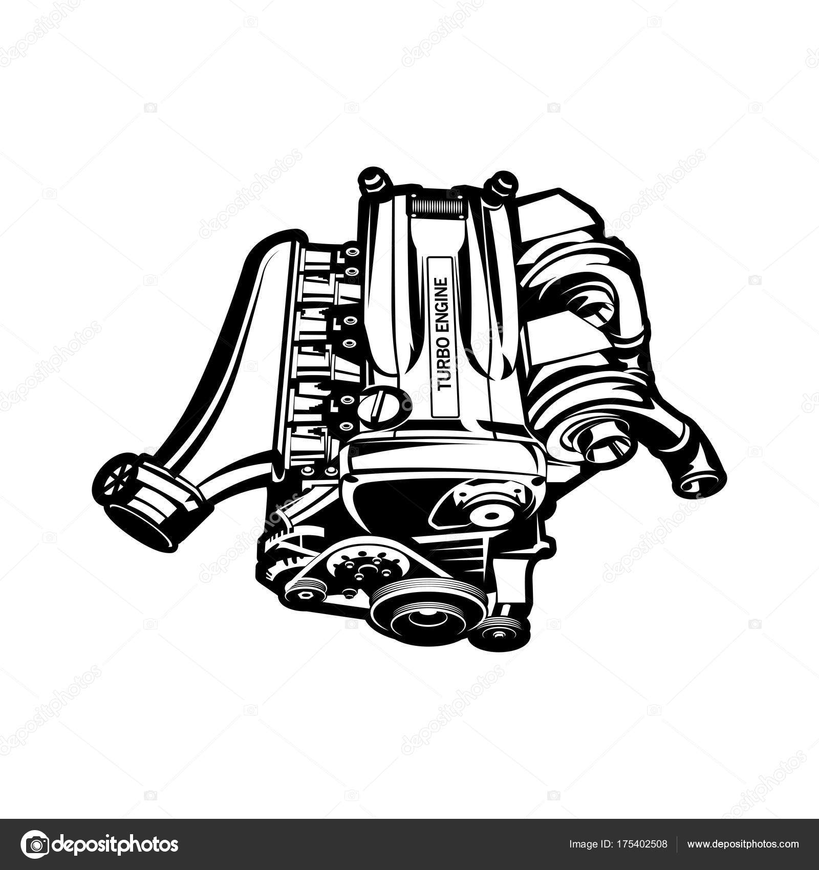 car engine turbo muscle car speedster illustration — Stock Vector ...