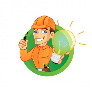 Electrician holding light bulb and screwdriver