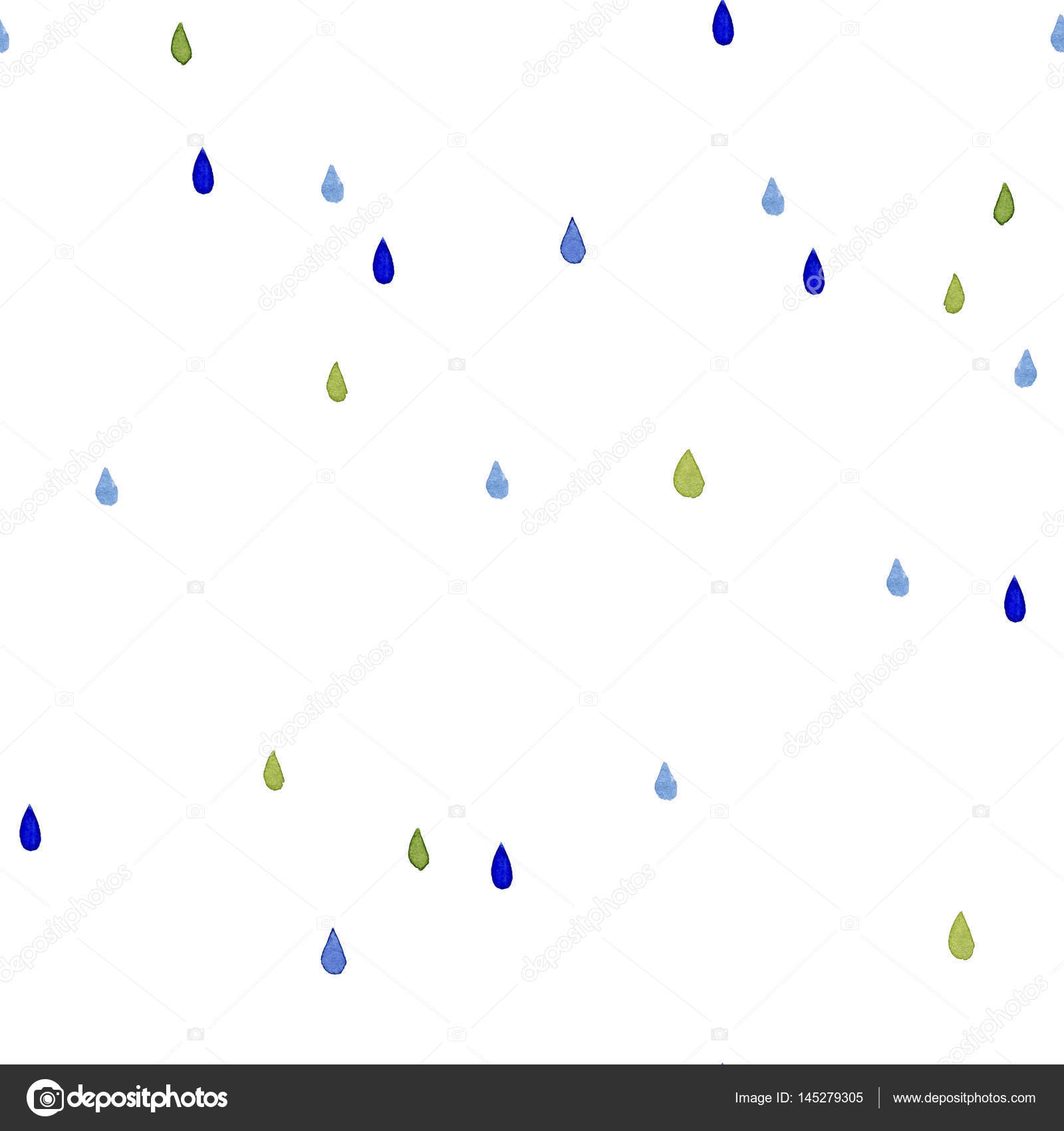 Seamless Watercolor Pattern Color Rain Drops On White Background