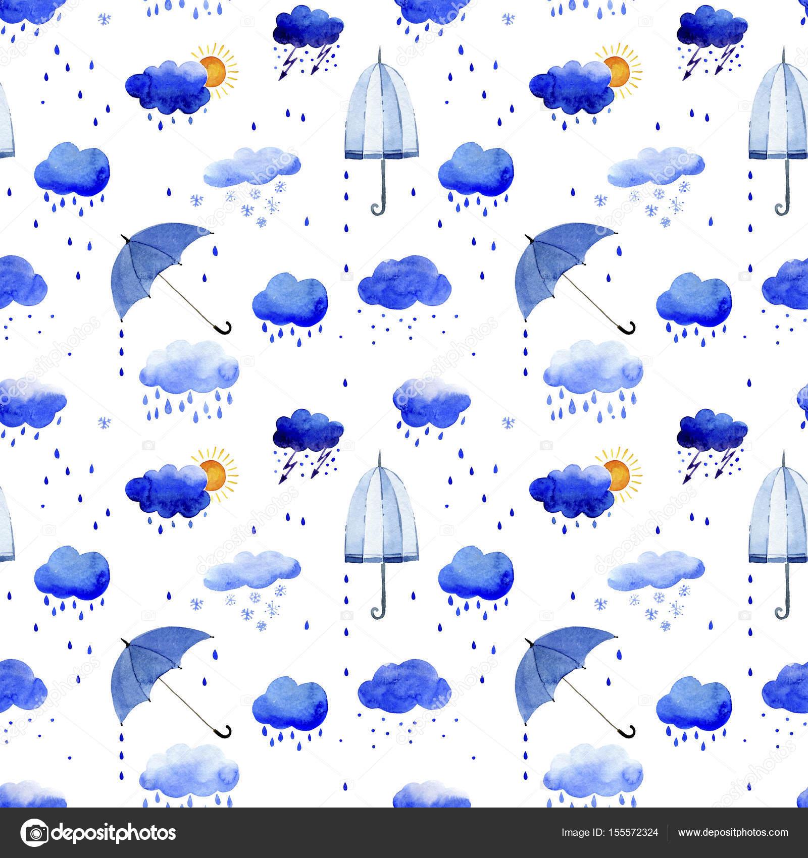 Sulu Boya Dikişsiz Desen Yağmur Bulutları Ve şemsiye Stok Foto