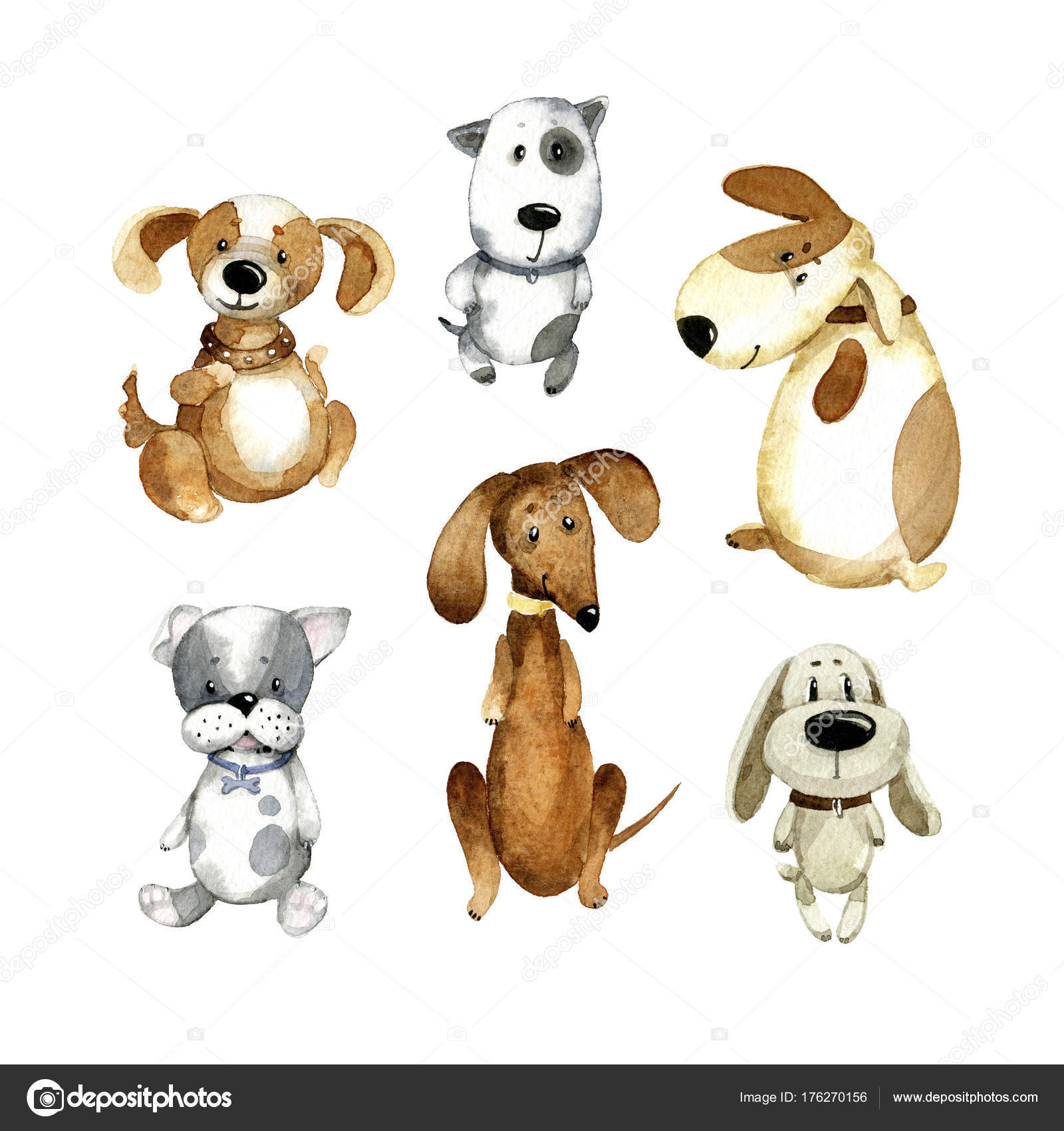 Watercolor Cartoon Illustration Set Different Cute Dogs Stock