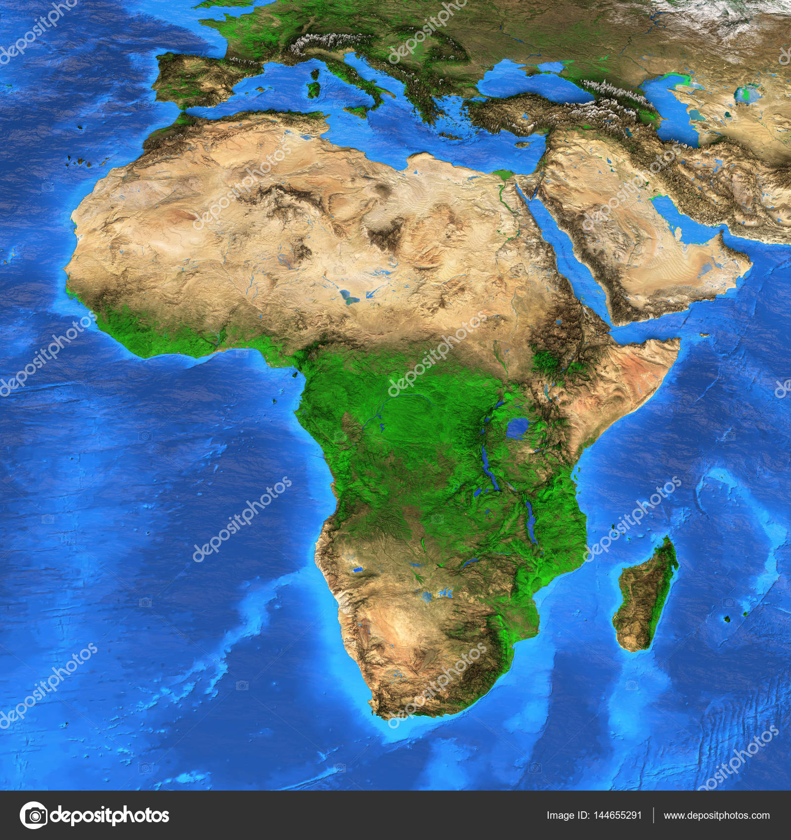 Detailed Satellite View Of The Earth And Its Landforms. Africa Map.  Elements Of This Image Furnished By NASA U2014 Photo By TitoOnz