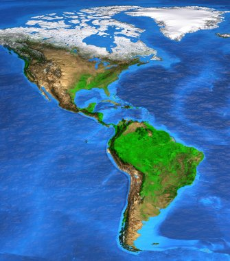 High resolution world map focused on America