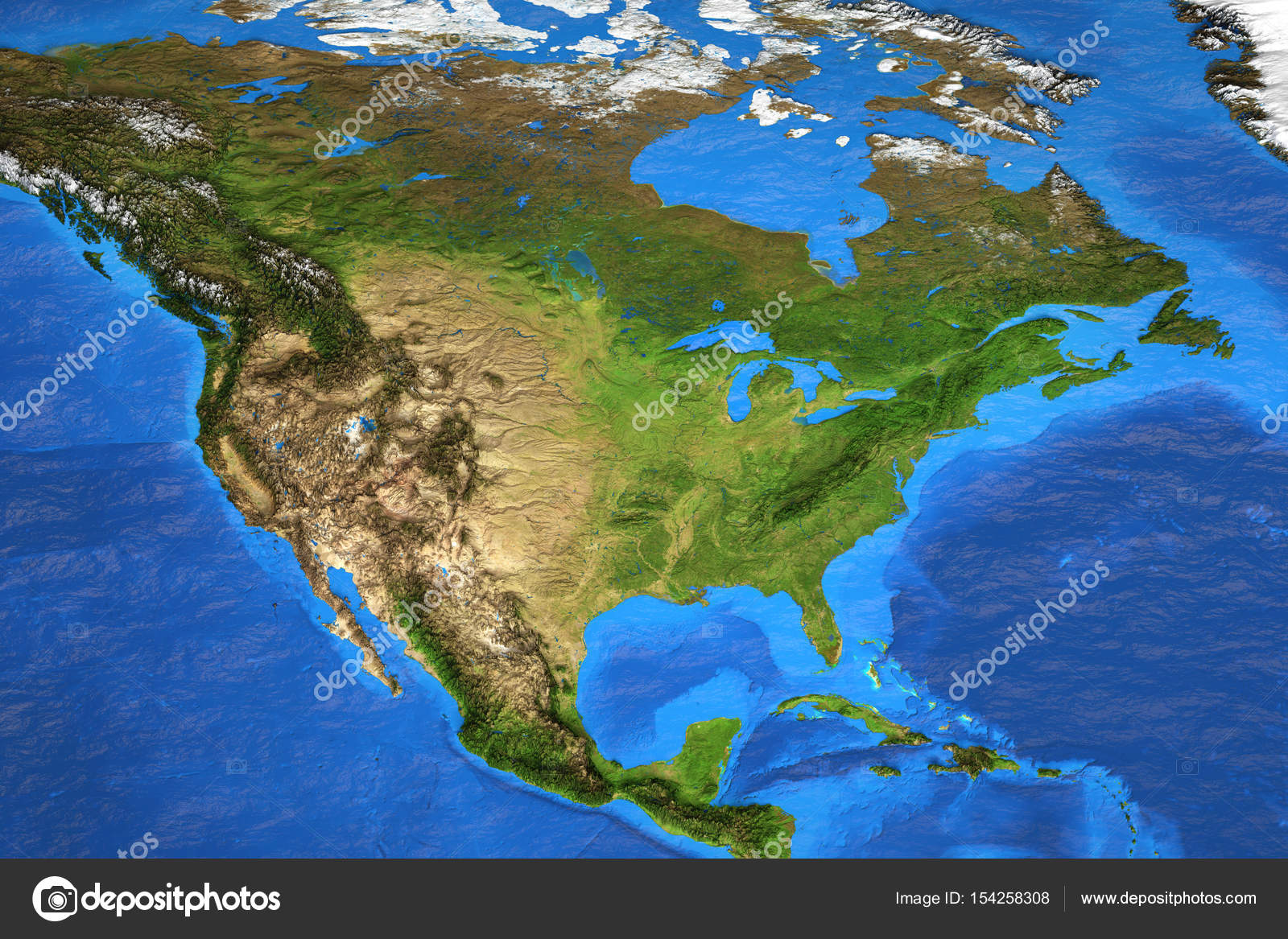 Detailed Satellite View Of The Earth And Its Landforms In Summer. North  America Map. Elements Of This Image Furnished By NASA U2014 Photo By TitoOnz