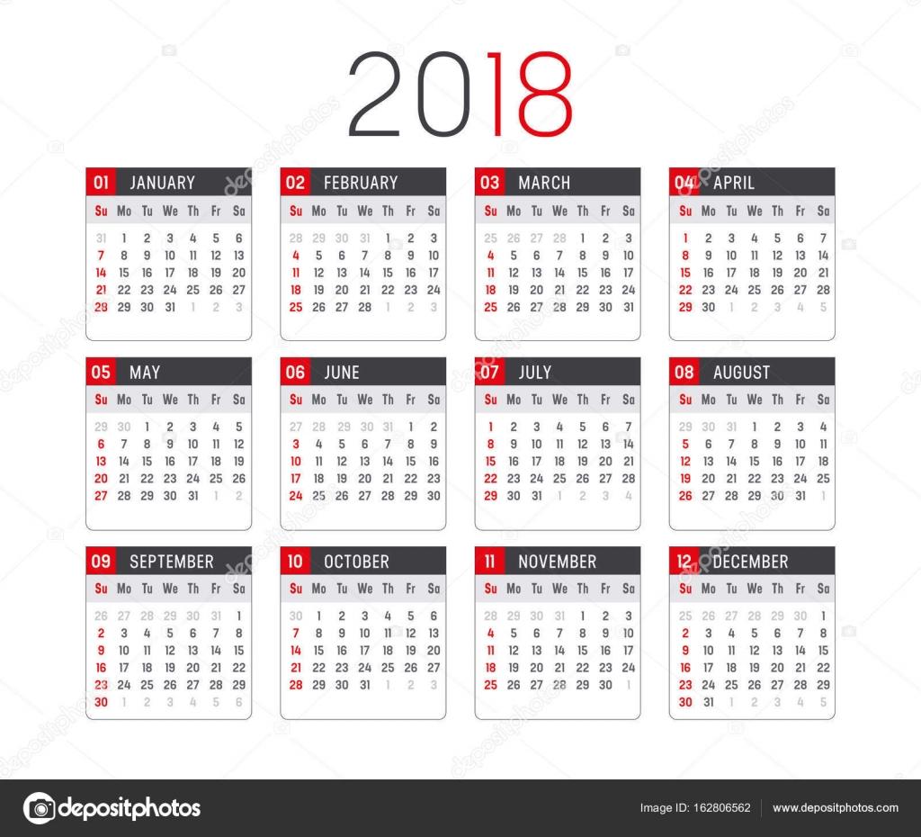 Plantilla de vector de calendario año 2018 — Archivo Imágenes ...