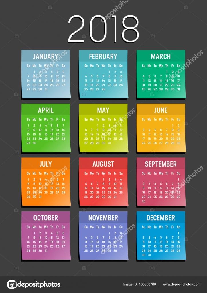 year 2018 sticky notes calendar stock vector titoonz 165358780