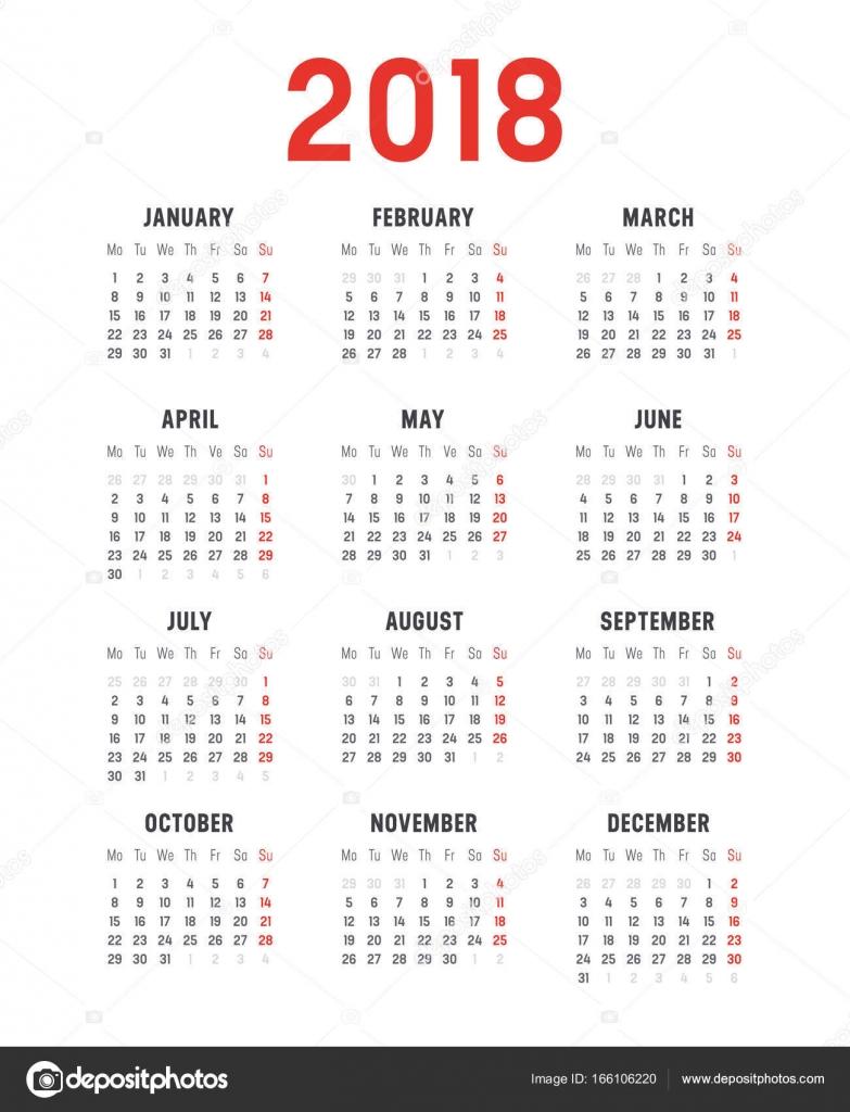 Kalendervorlage Vektor Jahr 2018 — Stockvektor © titoOnz #166106220
