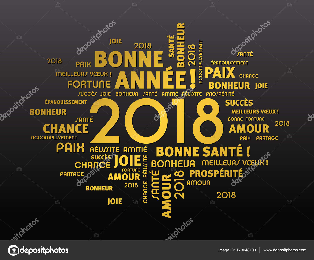 Wenskaart 2018 In De Franse Taal Stockvector C Titoonz 173048100