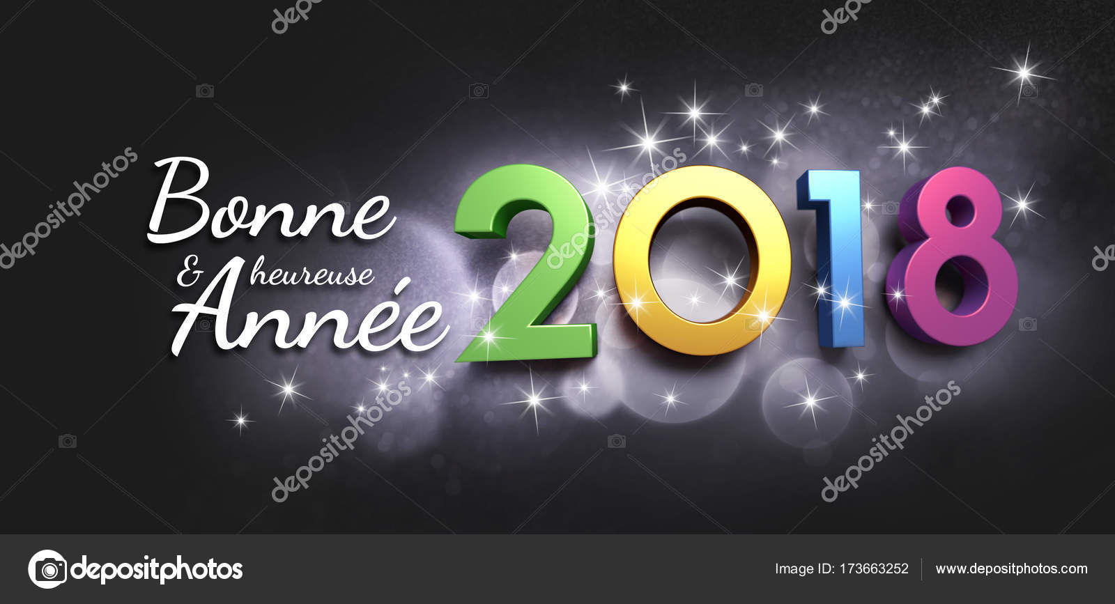 New Year 2018 Greeting Card In French Stock Photo Titoonz 173663252