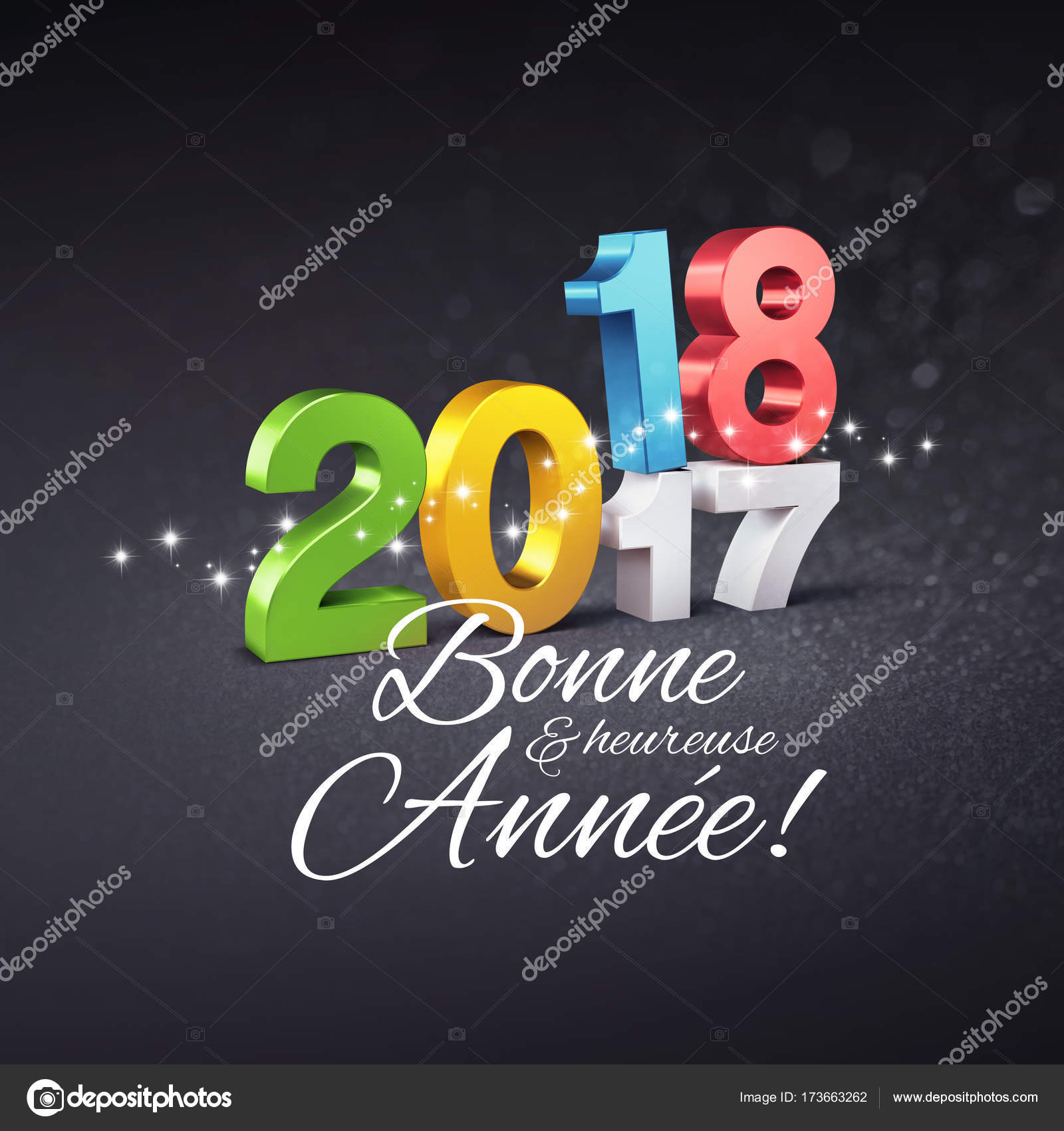 New Year 2018 Greeting Card In French Stock Photo Titoonz 173663262