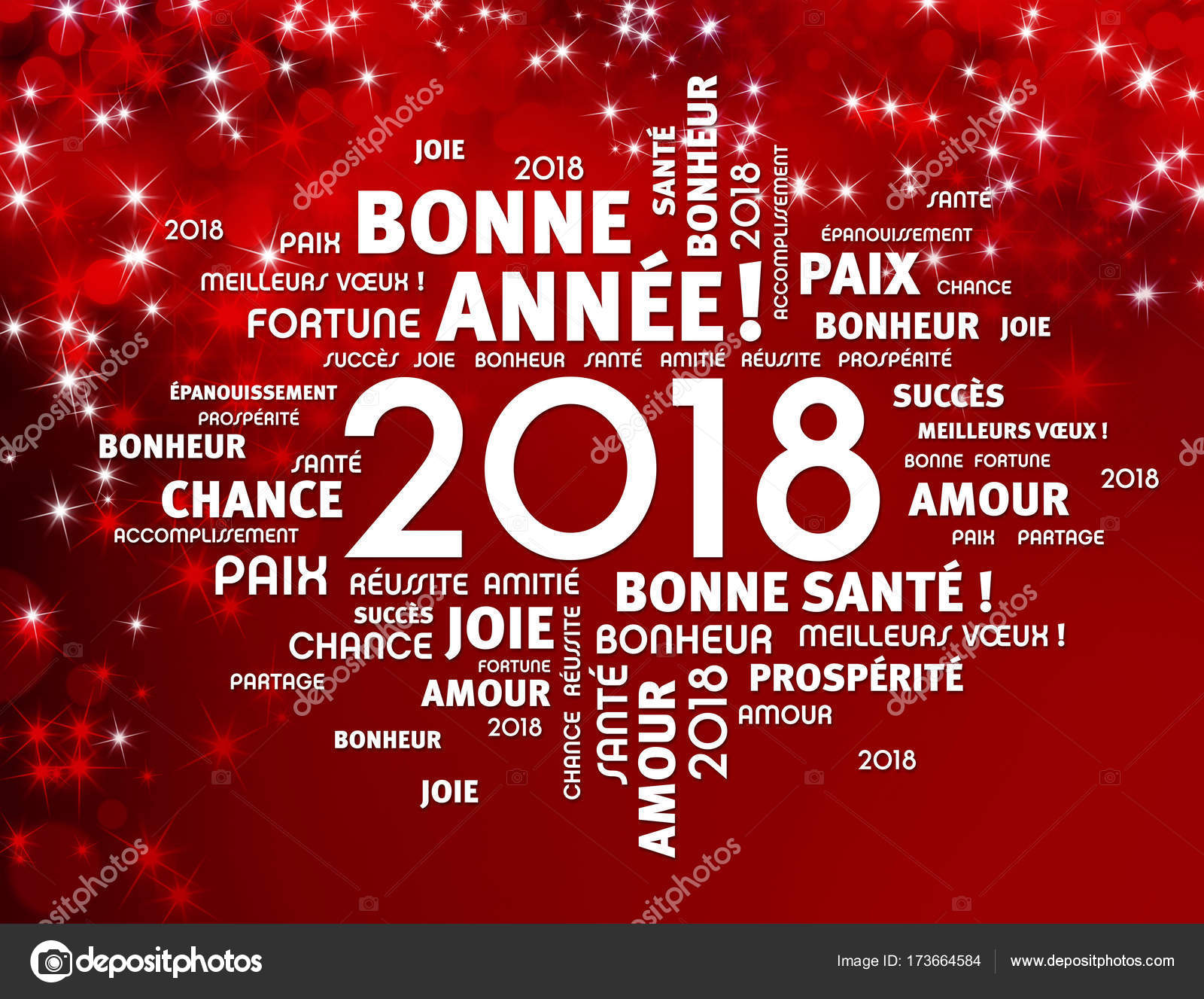 New Year 2018 Greeting Card In French Stock Photo Titoonz 173664584