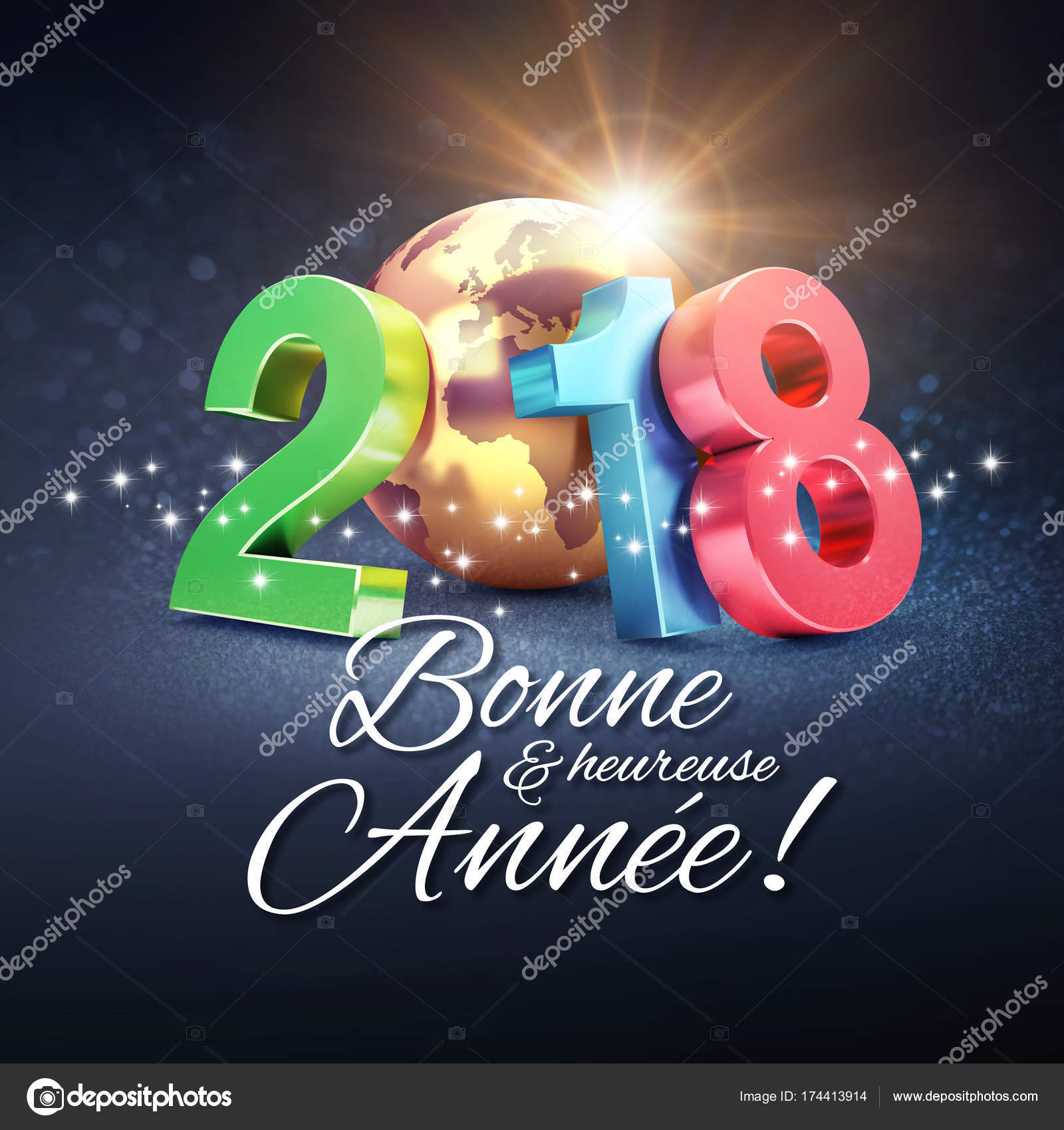 New Year 2018 Greeting Card In French Stock Photo Titoonz 174413914