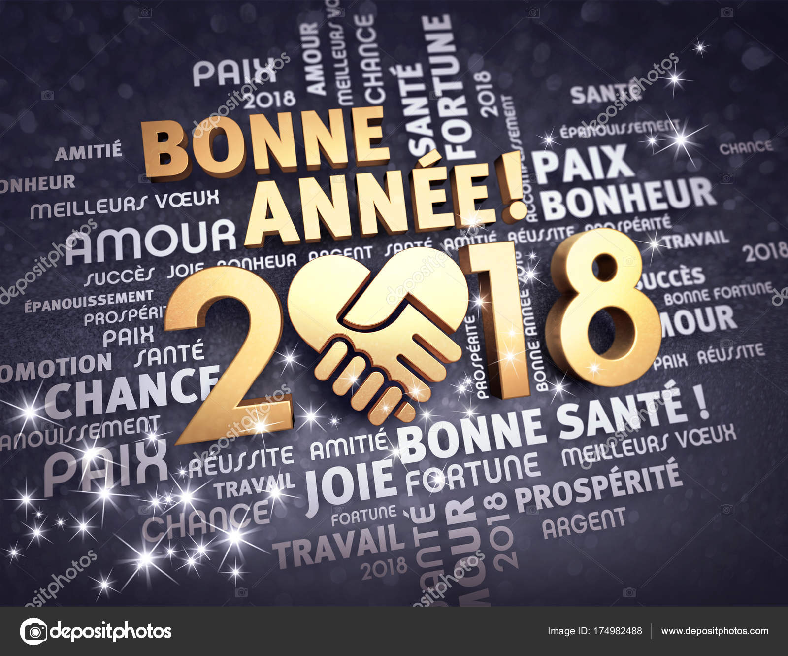 new year 2018 greeting card in french stock photo