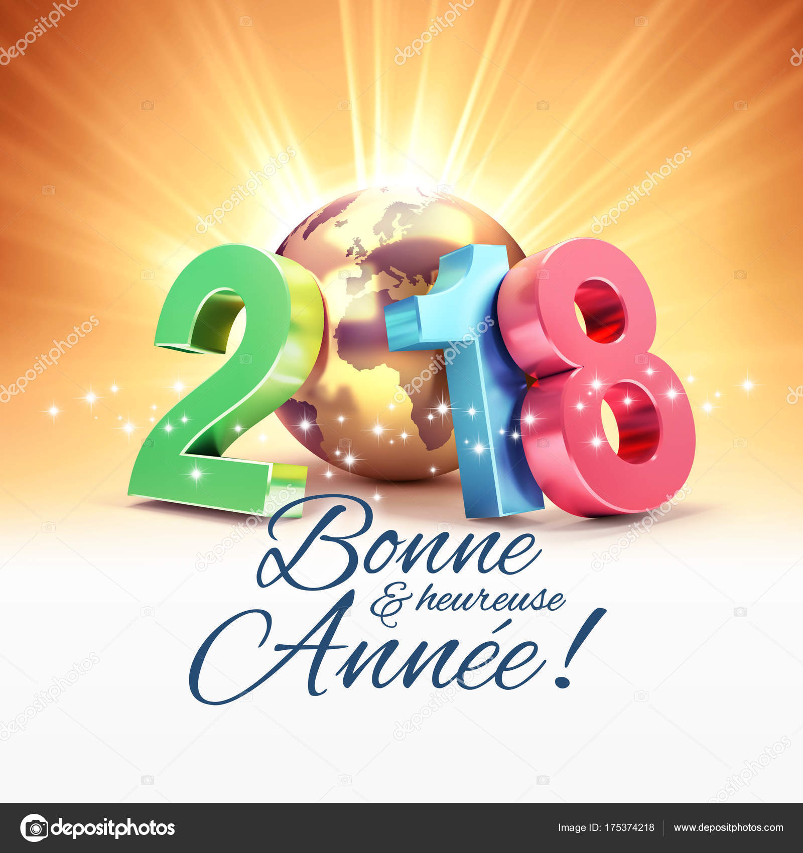 New Year 2018 Greeting Card In French Stock Photo Titoonz 175374218