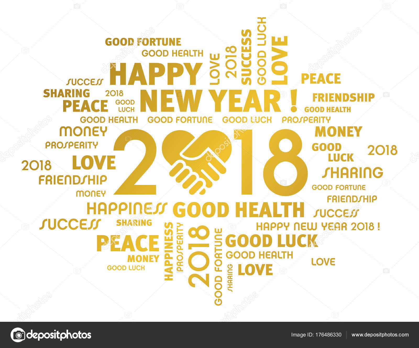 Happy New Year 2018 Greeting Card For Sharing Stock Vector