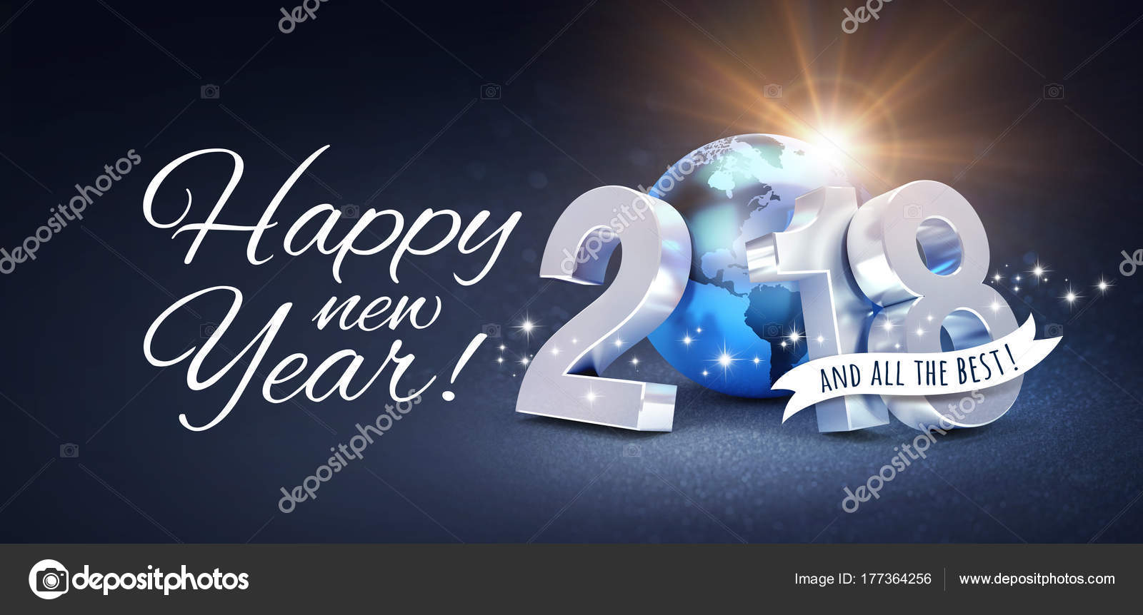 happy new year 2018 greeting card for all the best stock photo 177364256