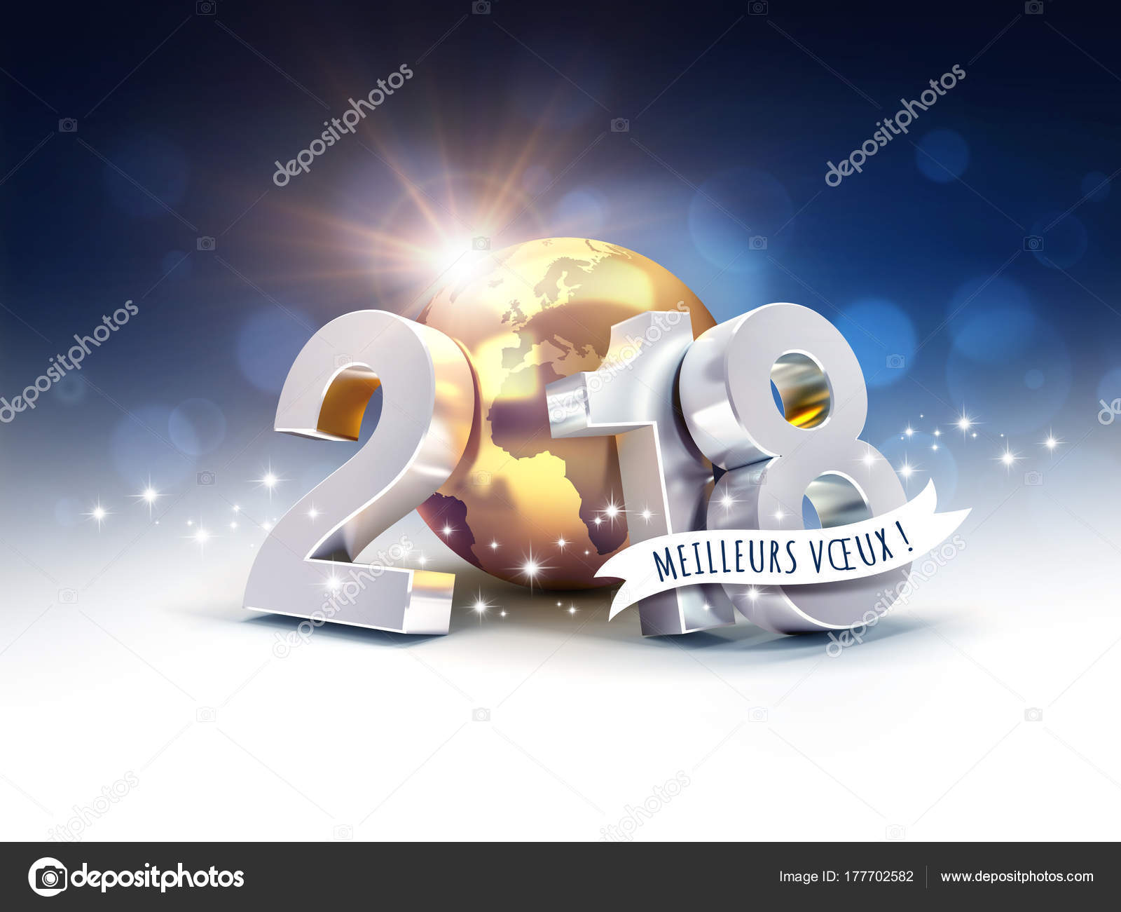 New Year 2018 Greeting Card In French Stock Photo Titoonz 177702582