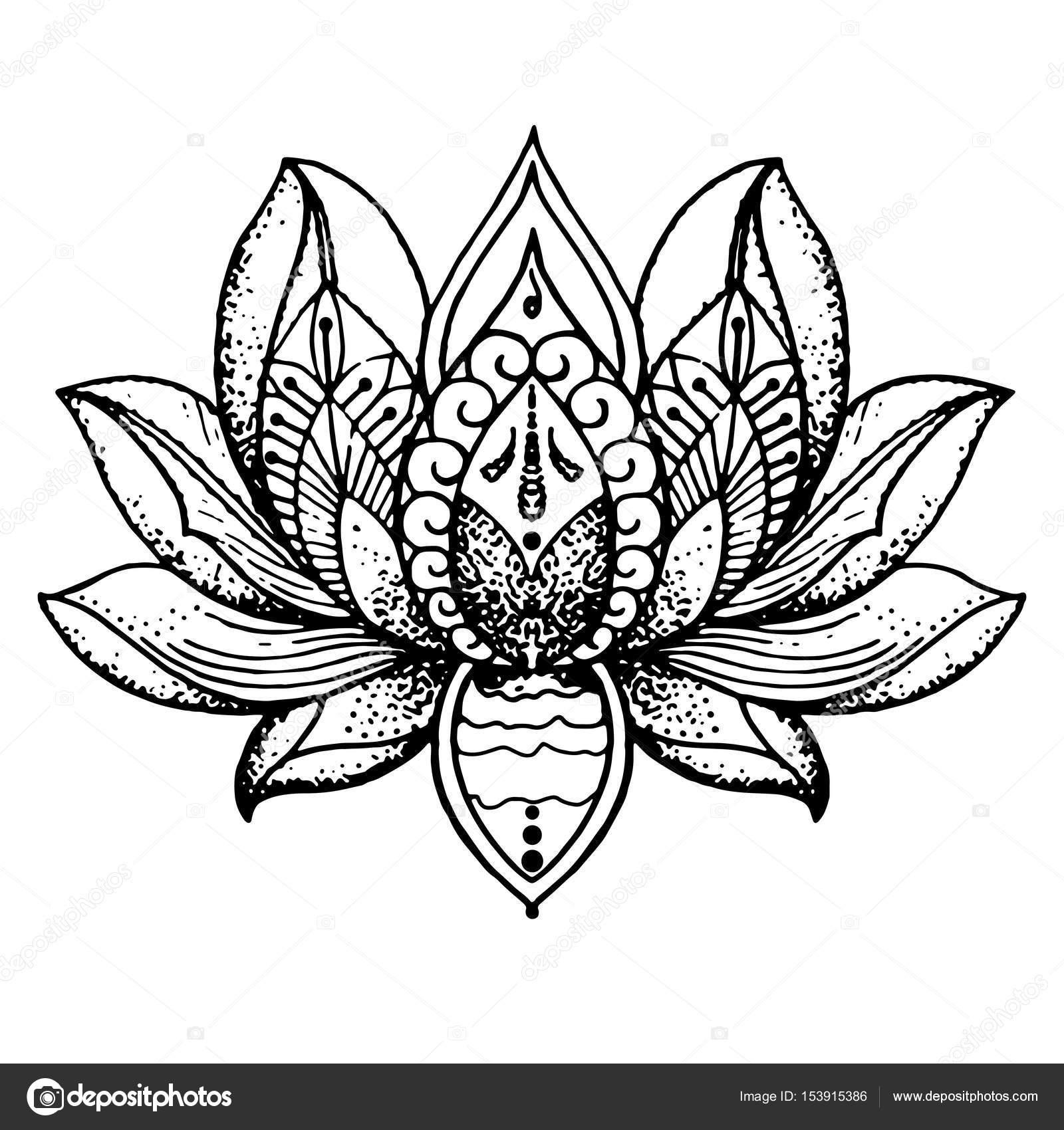 Tatuaje Flor De Loto Meditación Archivo Imágenes Vectoriales