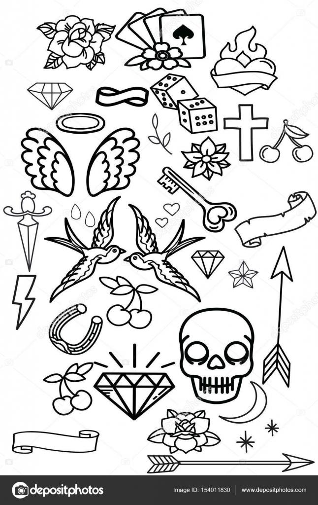 Bocetos Flores Tatuajes Gran Conjunto De Pegatinas De Mejilla De