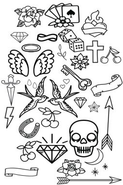 Big set of interesting old school cheek stickers. Sketches of tattoos