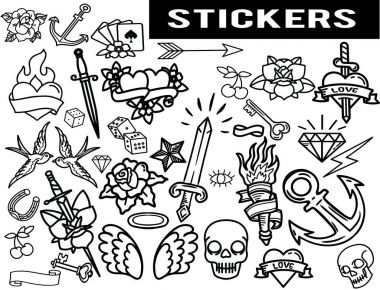 A large selection of old school stickers