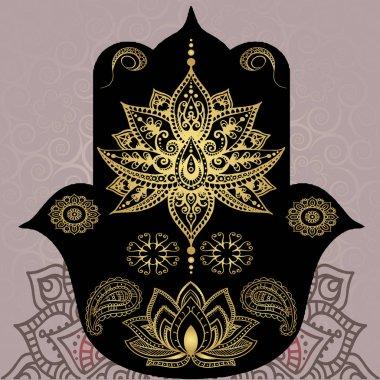 Golden symbols of Buddhism. Mandala, henna, hamsa. Indian style
