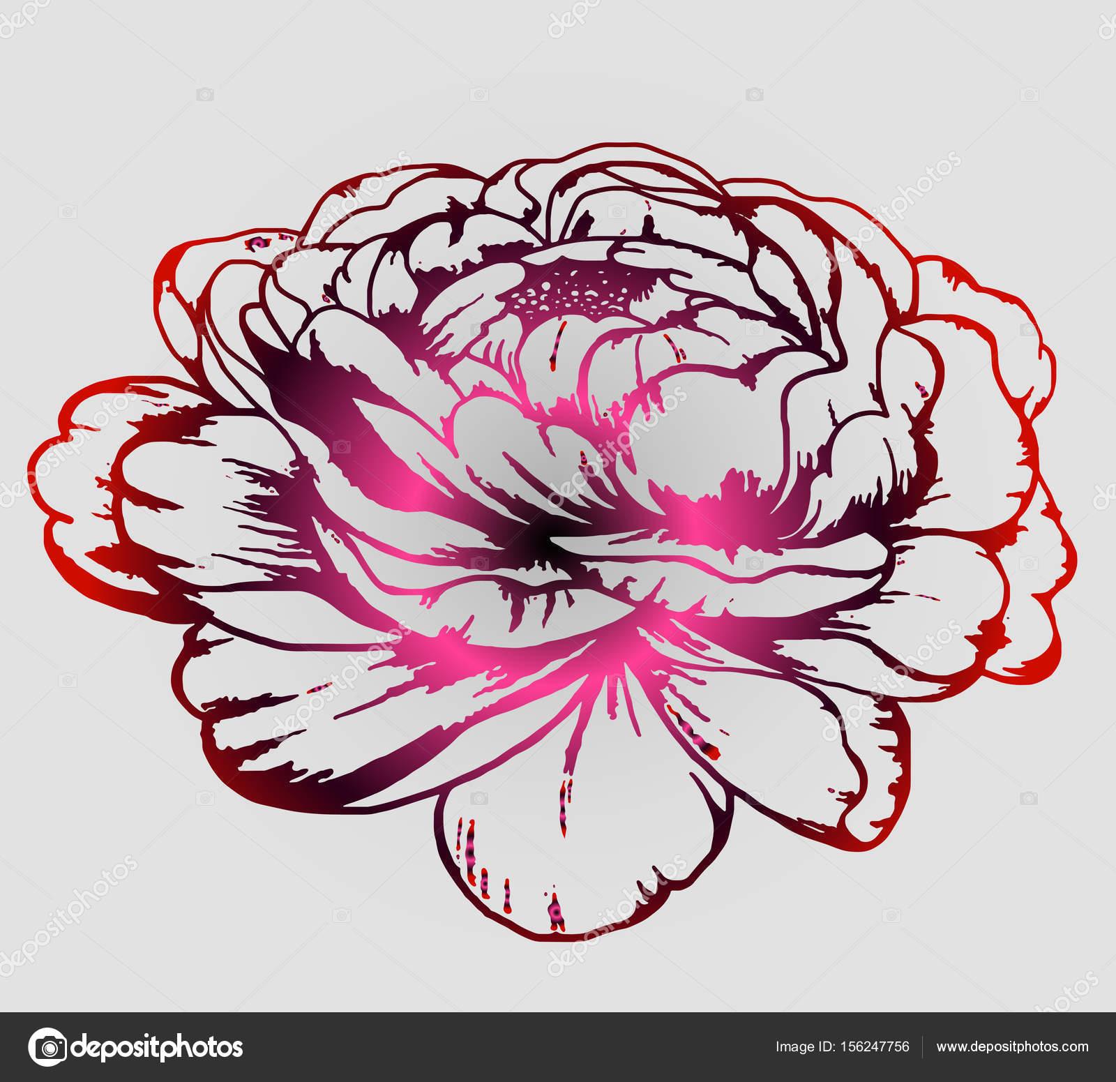 Fleur De Pivoine Timbre De Couleur Tatouage Image Vectorielle