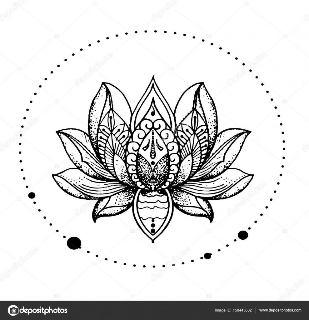 Beautiful Oriental Detailed Lotus Flower Stylish Idea Of Tattoo