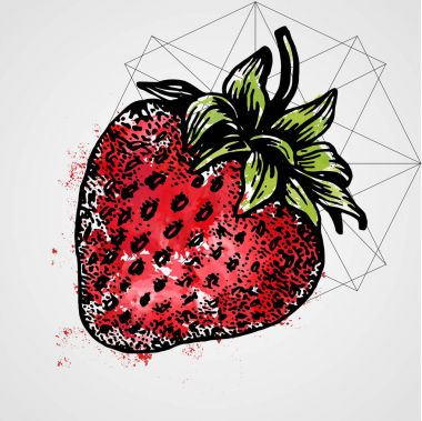 Art sketch - realistic strawberry close-up