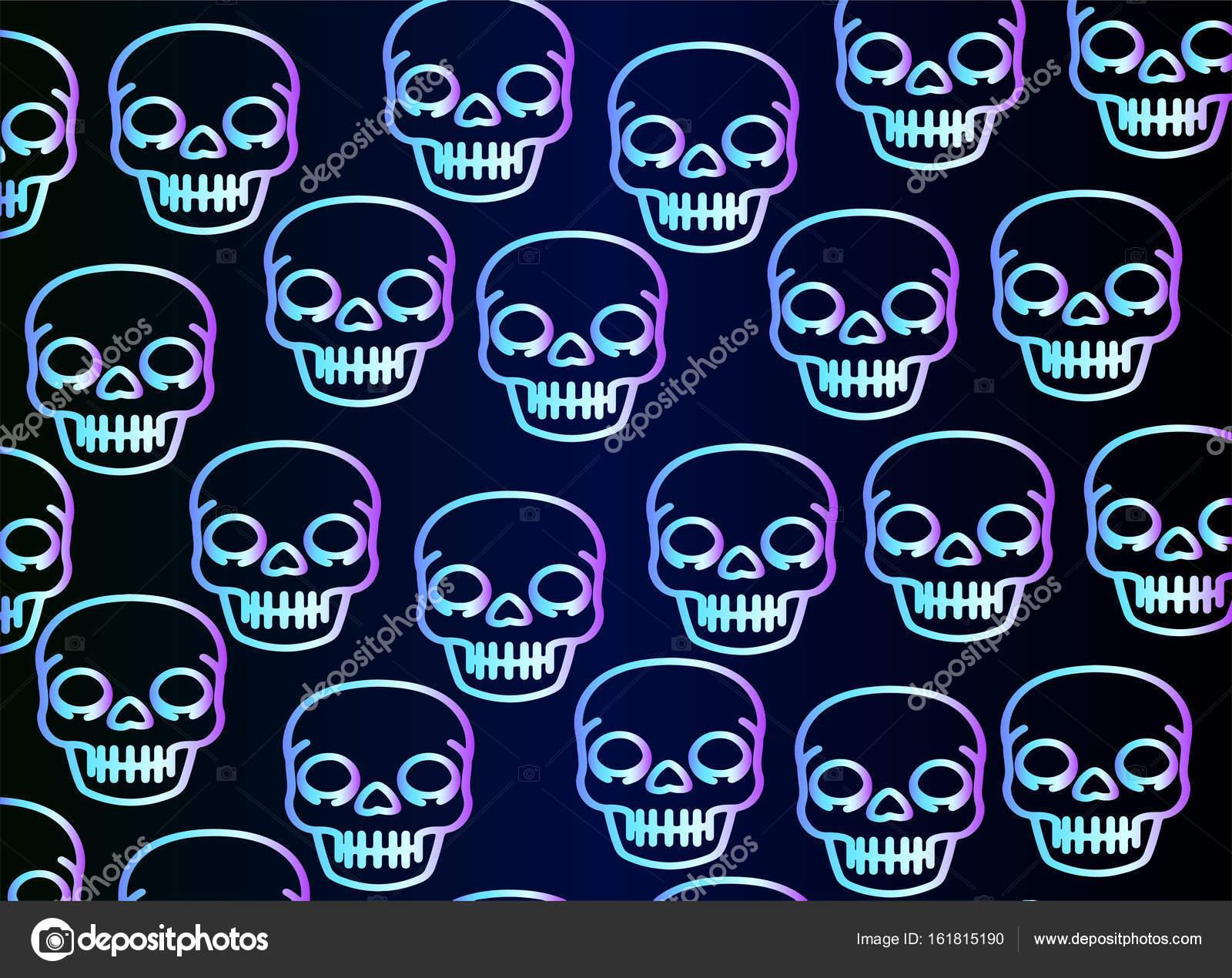 Cráneo de neón brillante, patrón — Archivo Imágenes Vectoriales ...