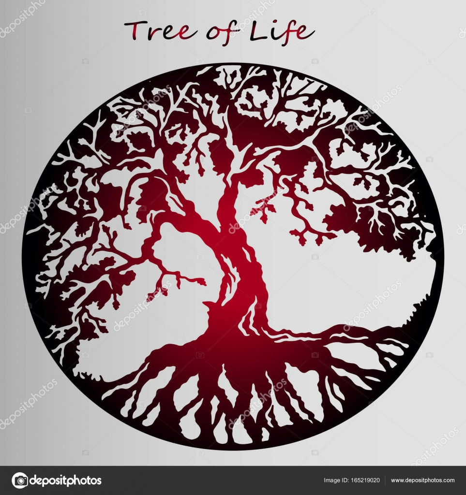 Czerwona Naklejka Drzewo życia Piękny Pomysł Na Tatuaż