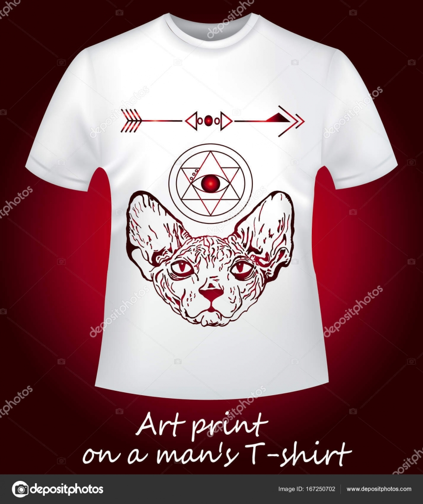549ee72cddb1 Μια στενή-up είναι ένα λευκό T-shirt με μια ενδιαφέρουσα τυπωμένη ύλη.  Θυμωμένος Σφίγγα και άντληση γεωμετρία — Διάνυσμα με Littlemagic