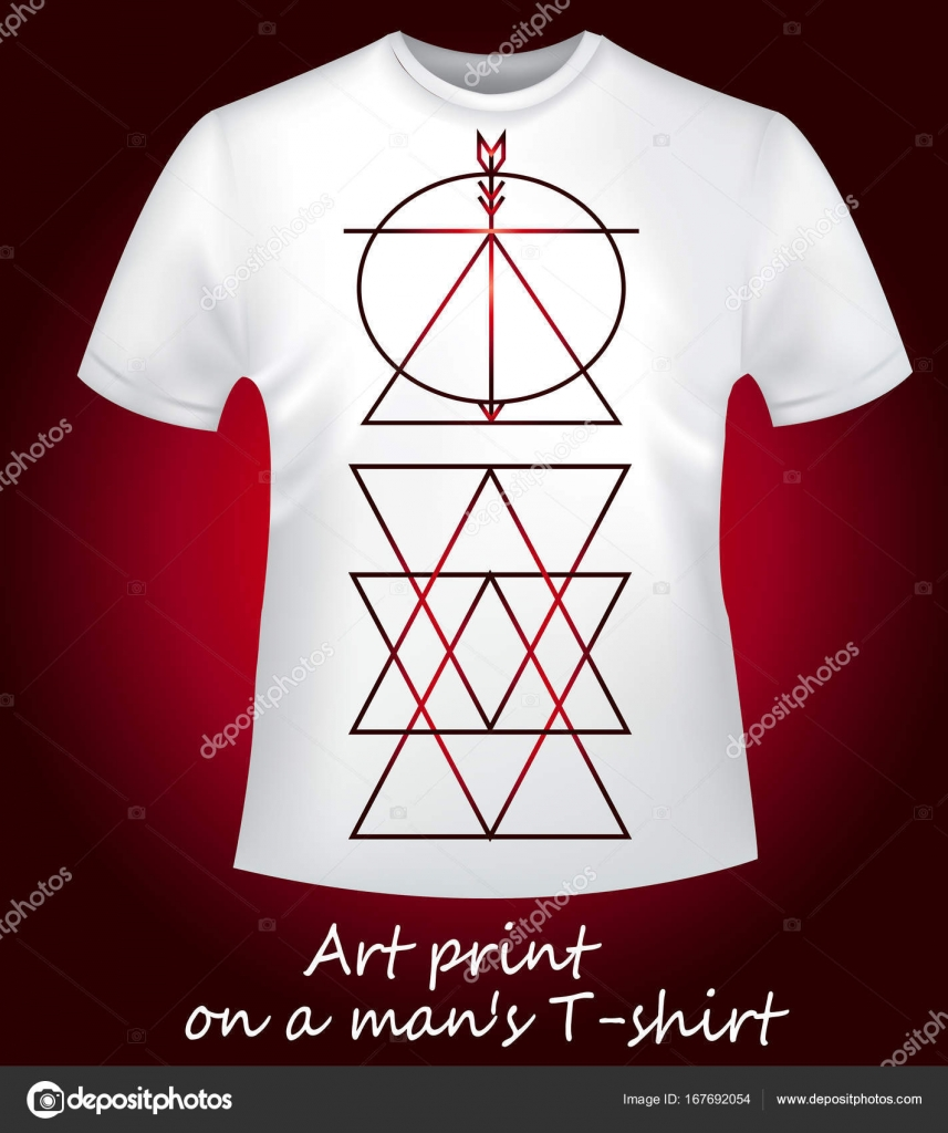 White mens t shirt with print geometry triangles stock vector collection of mens trend clothes a white t shirt with a stylish red gradient print fashion style vector by littlemagic biocorpaavc