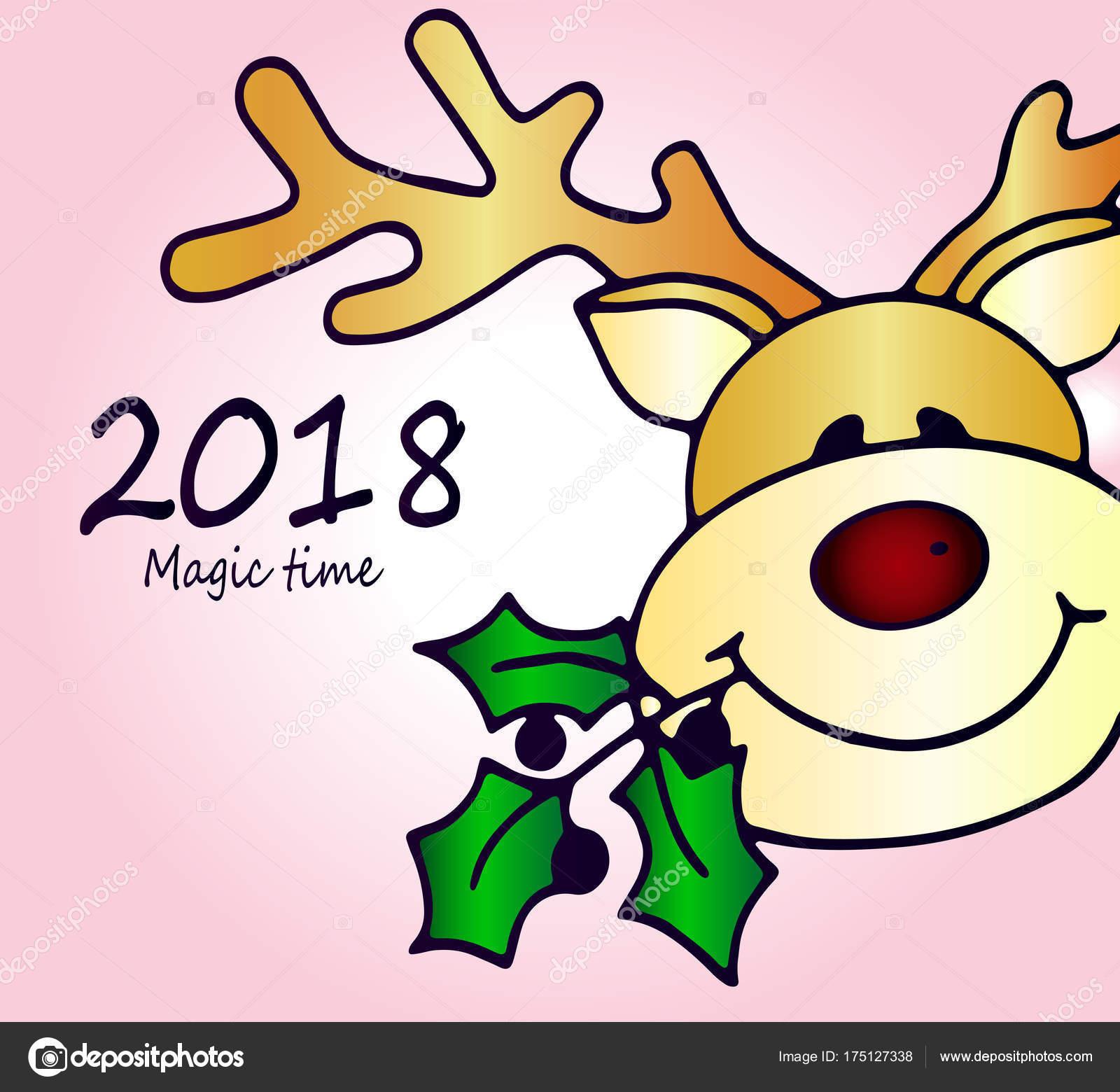 Tarjeta Felicitación Feliz Navidad Ciervos Reno Lindo Brillante Idea ...