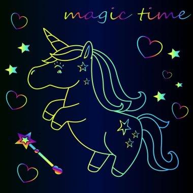 cartoon neon unicorn with stars, magic wand and heart - magic time