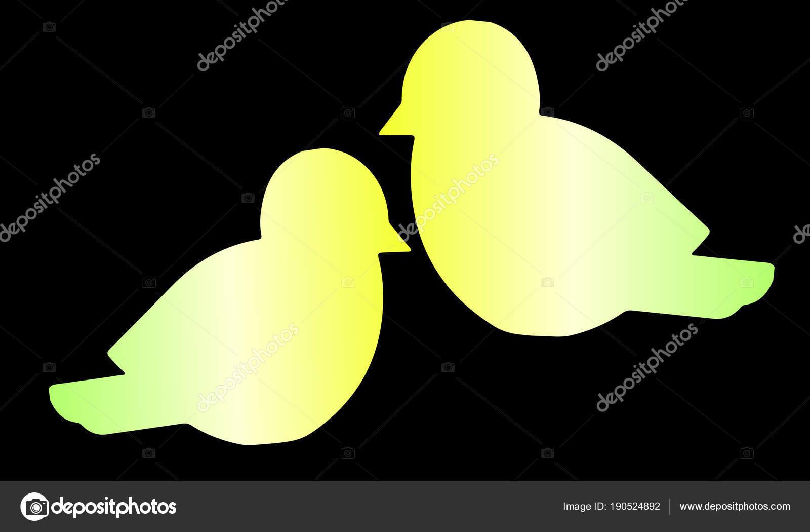 dois pássaros gradientes amarelos silhouette close vetor gradiente