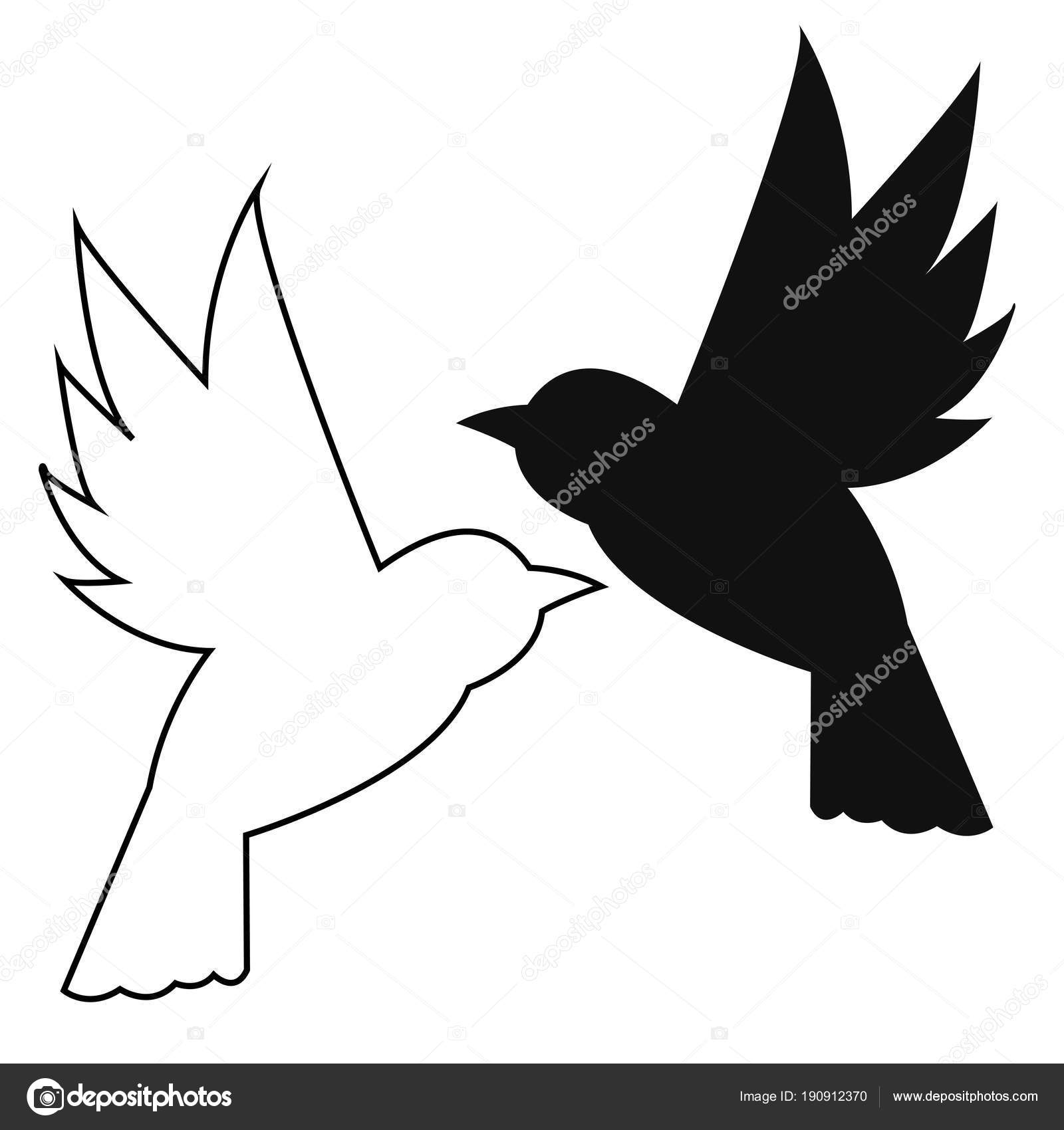 silhueta contorno close pássaros voando vetores de stock