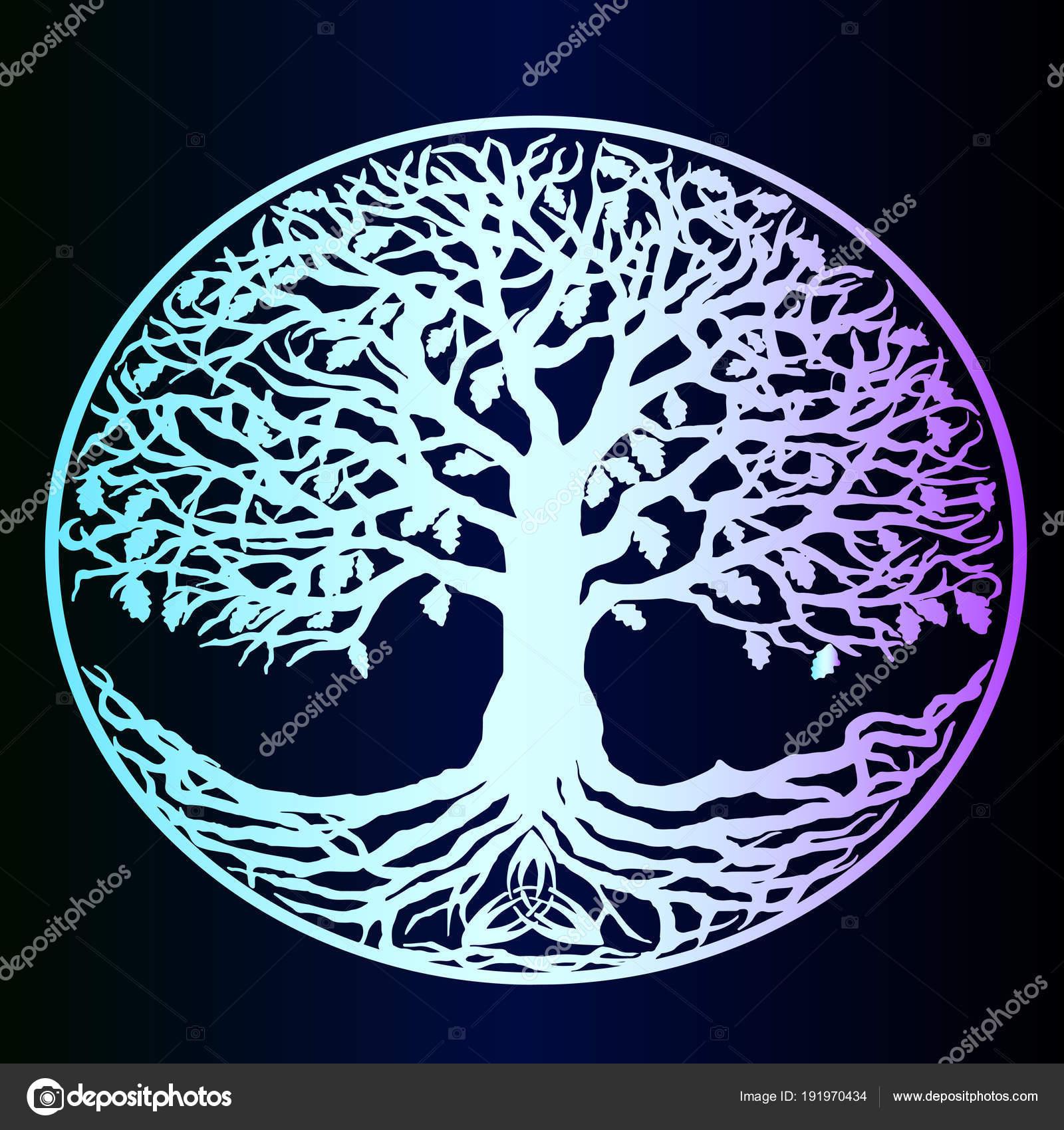 Neon Drzewo życia Wektor Piękne Szczegółowe Szkic Tatuaż