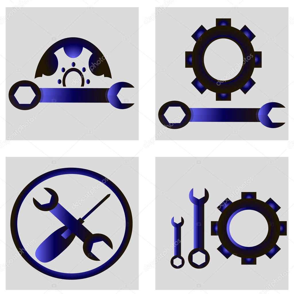 A set of auto tools - auto mechanics icons. Auto workshop and car repair