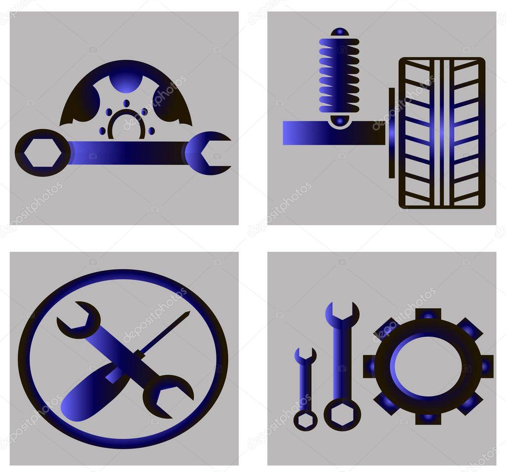Set of auto tool sets - gradient icons