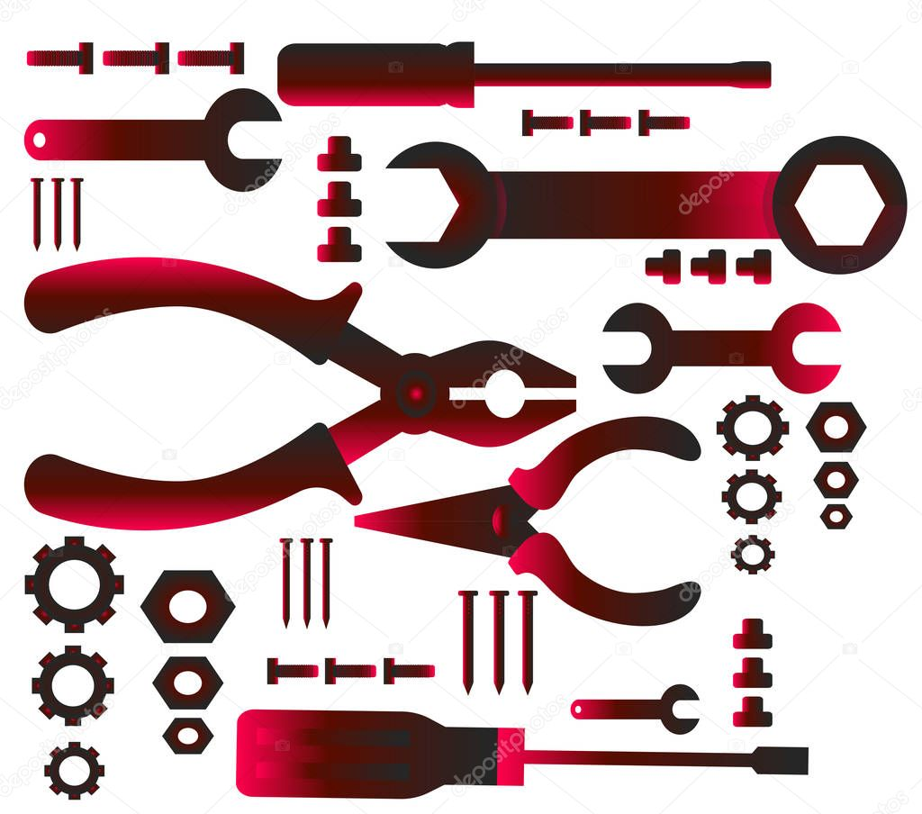 A set of red gradient icons for construction, auto repair and other
