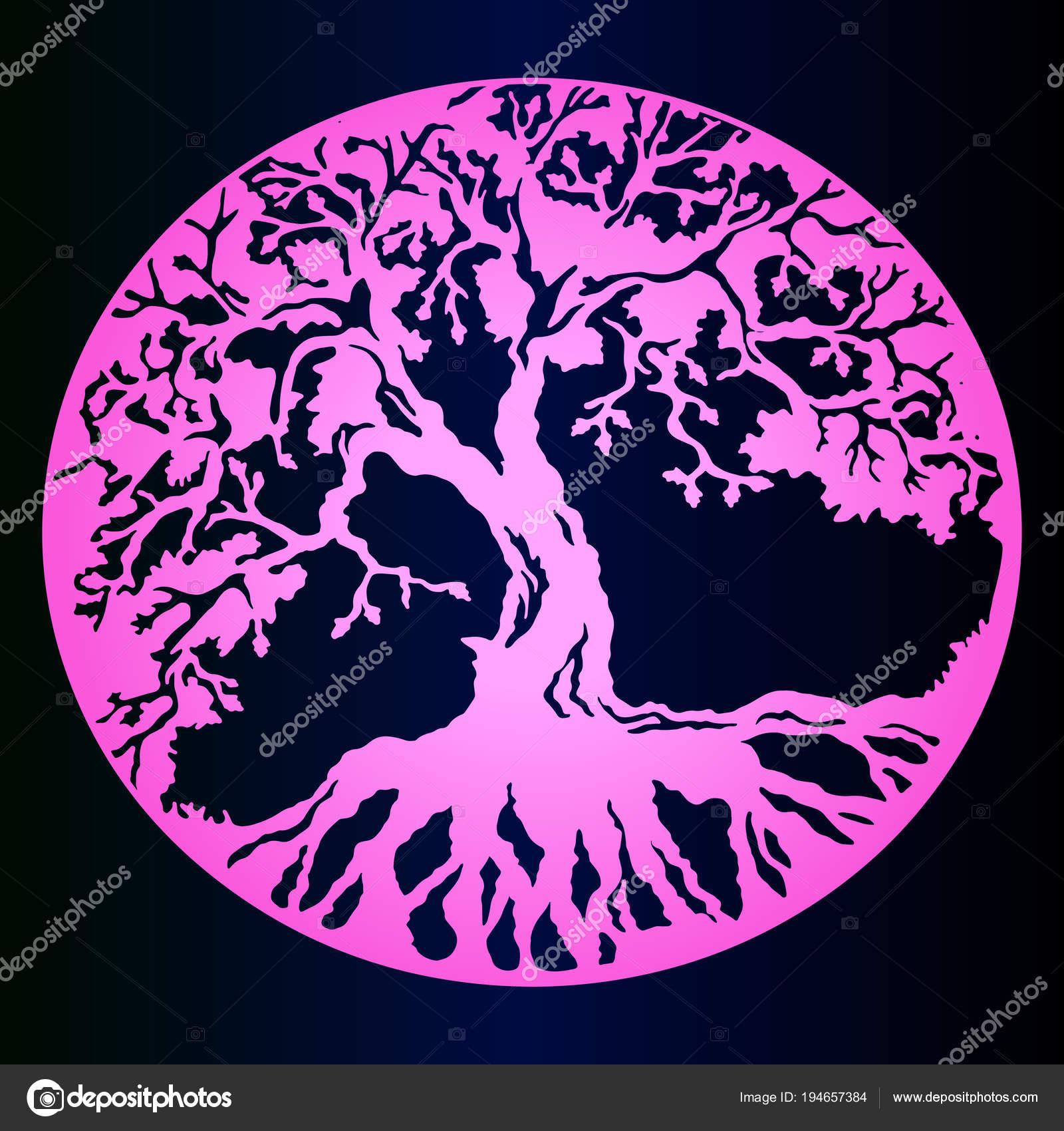 Różowy Gradientu Szkic Tatuaż Drzewo życia Ciemne Tło Gradientowe