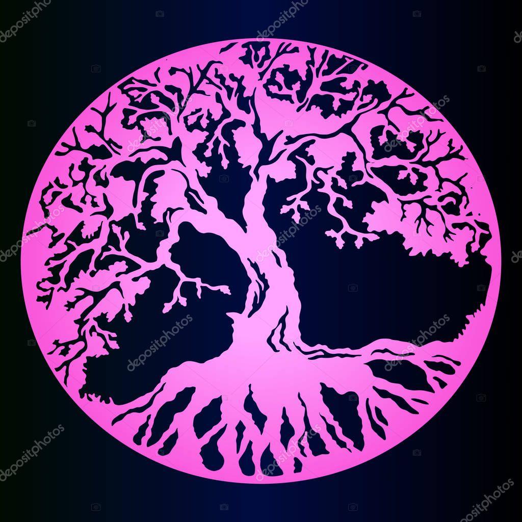 Różowy Gradientu Szkic Tatuaż Drzewo życia Ciemne Tło