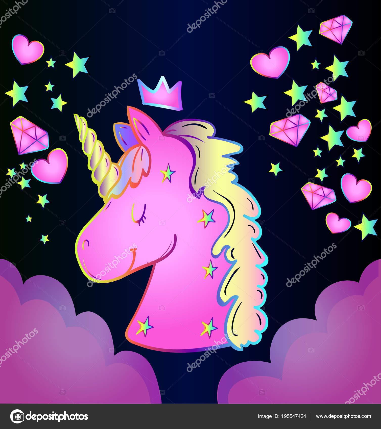 magic character animal unicorn blue gradient background stars hearts