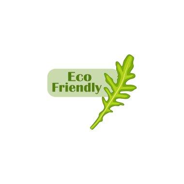 Eco friendly flat logo vector with arugula leaf isolated. Organic and vegan food logo icon