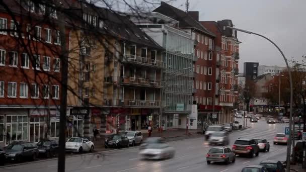 Zeitraffer-Autos in der Stadt Hamburg November