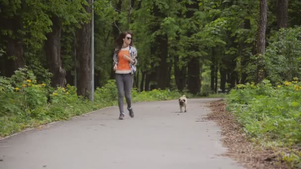 Pes tohoto plemene mops. Dívka je chůze psa na zeleném trávníku.