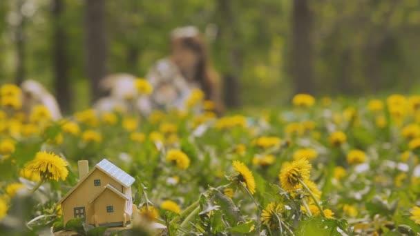 Real estate. Egy kis ház áll, egy zöld pázsit.