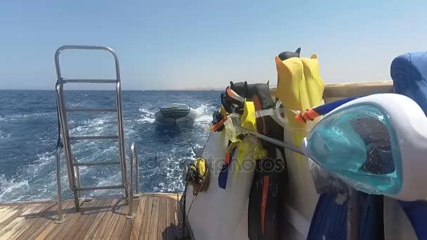 Motoryacht mit Tauchausrüstung. Im Roten Meer. Marsa Alam