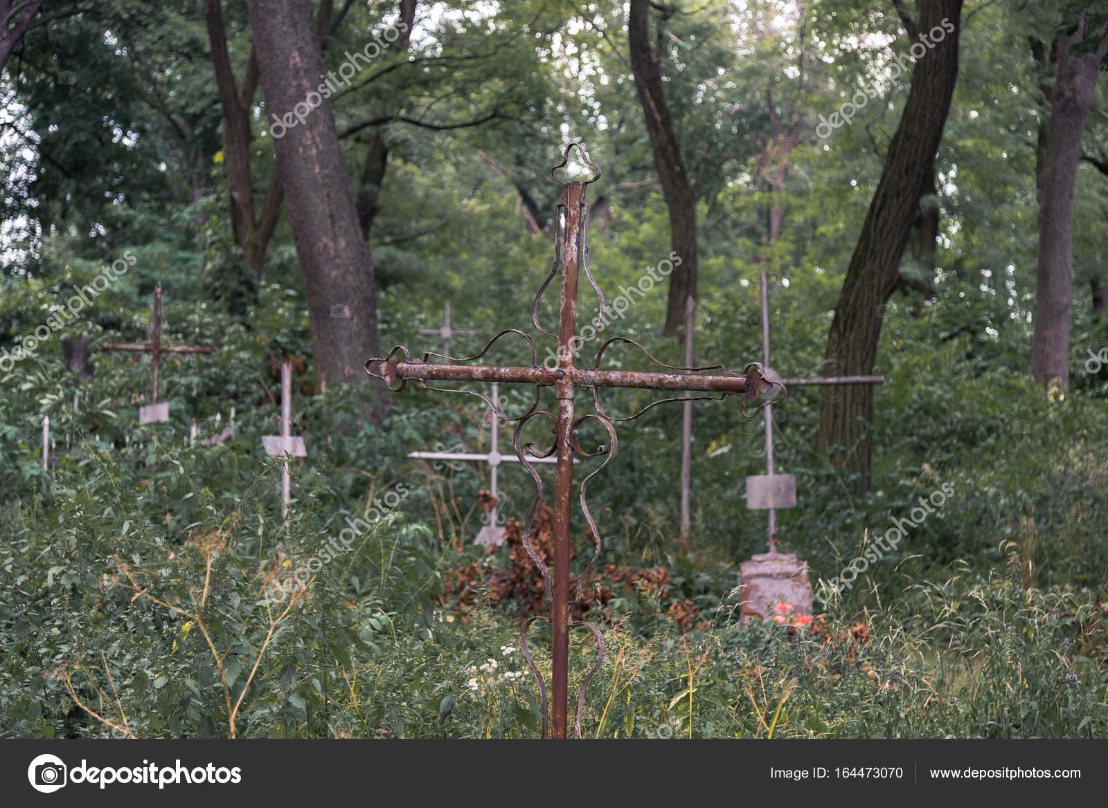 Un cimetière du XIXème siècle découvert dans un bois Depositphotos_164473070-stock-photo-abandoned-cemetery-ancient-crosses